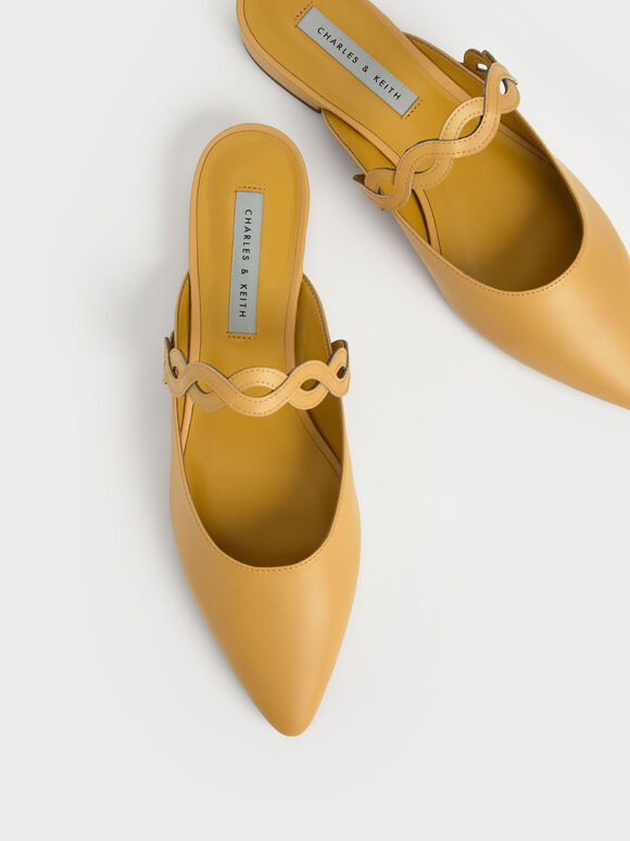 Woven Strap Flat Mules, Mustard, hi-res