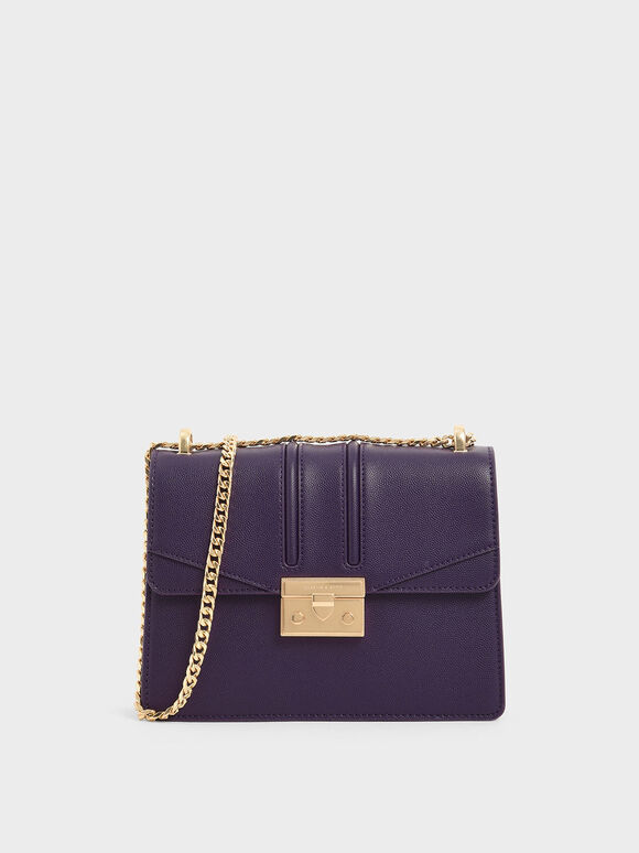 Chain Strap Shoulder Bag, Purple, hi-res