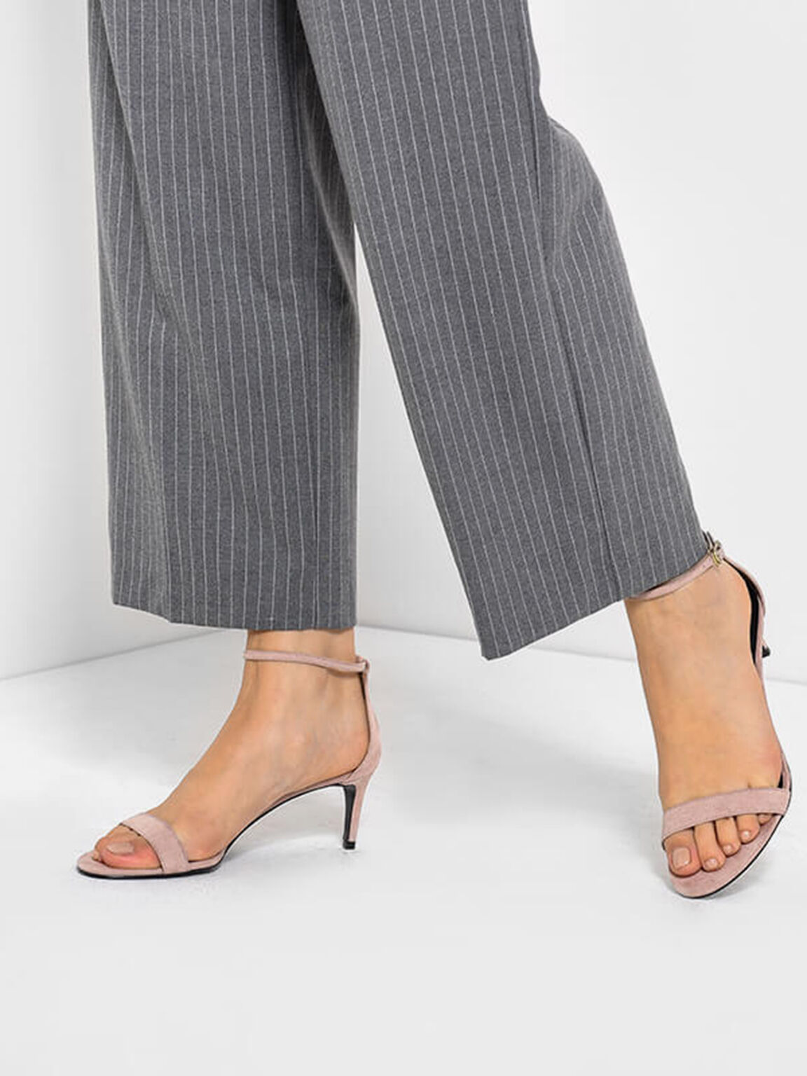Classic Ankle Strap Heels, Taupe, hi-res