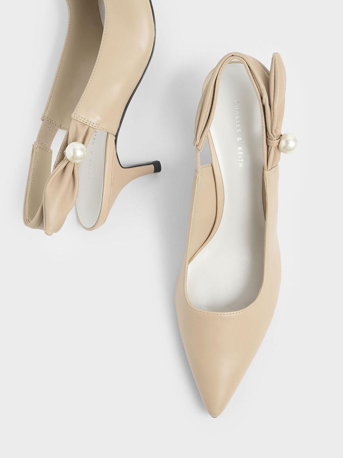 Embellished Slingback Kitten Heels, Beige, hi-res