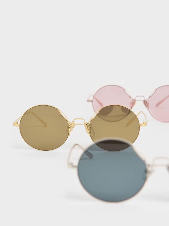 Round Tinted Sunglasses, Gold, hi-res