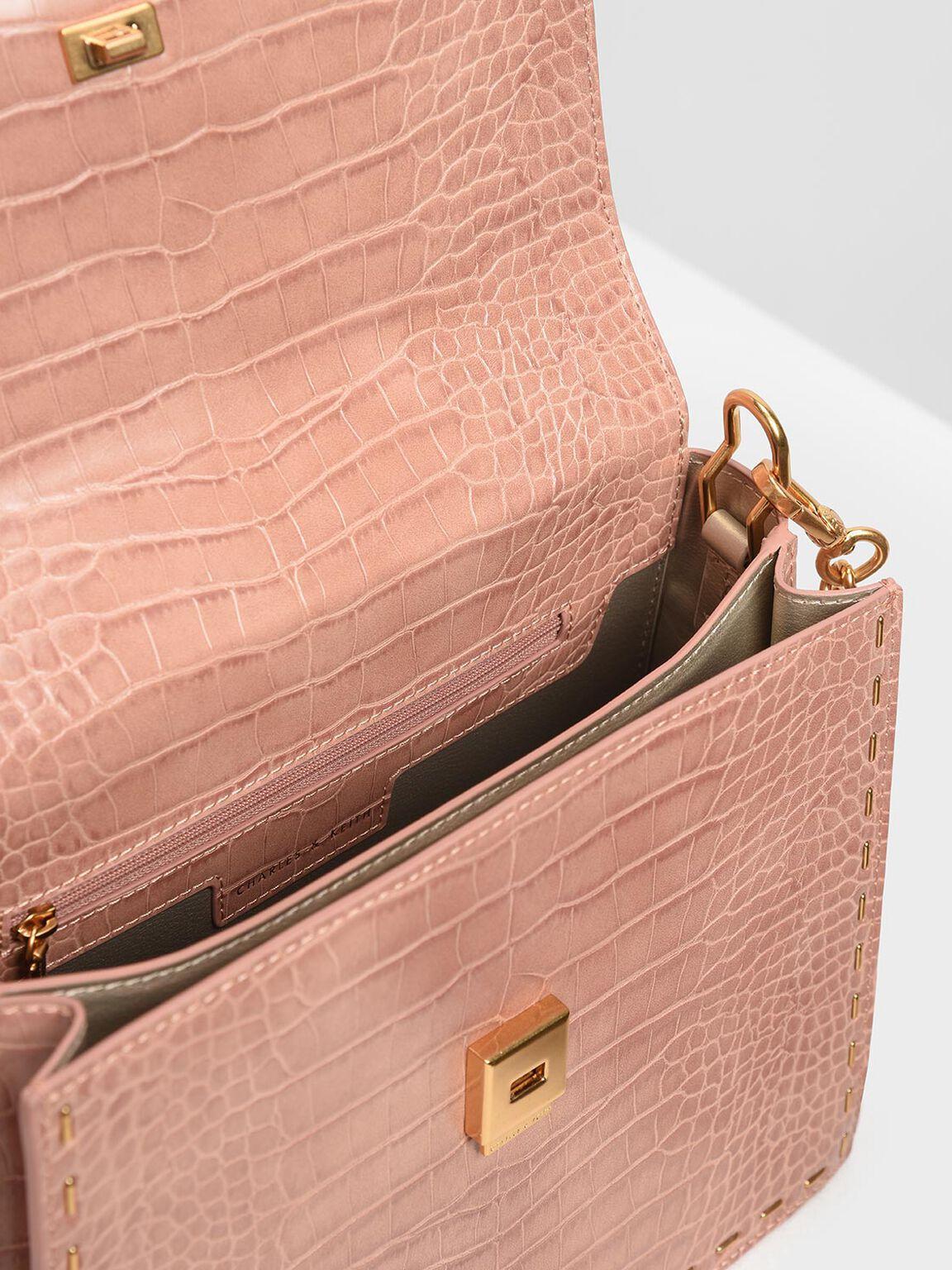 Croc-Effect Metallic Top Handle Bag, Pink, hi-res