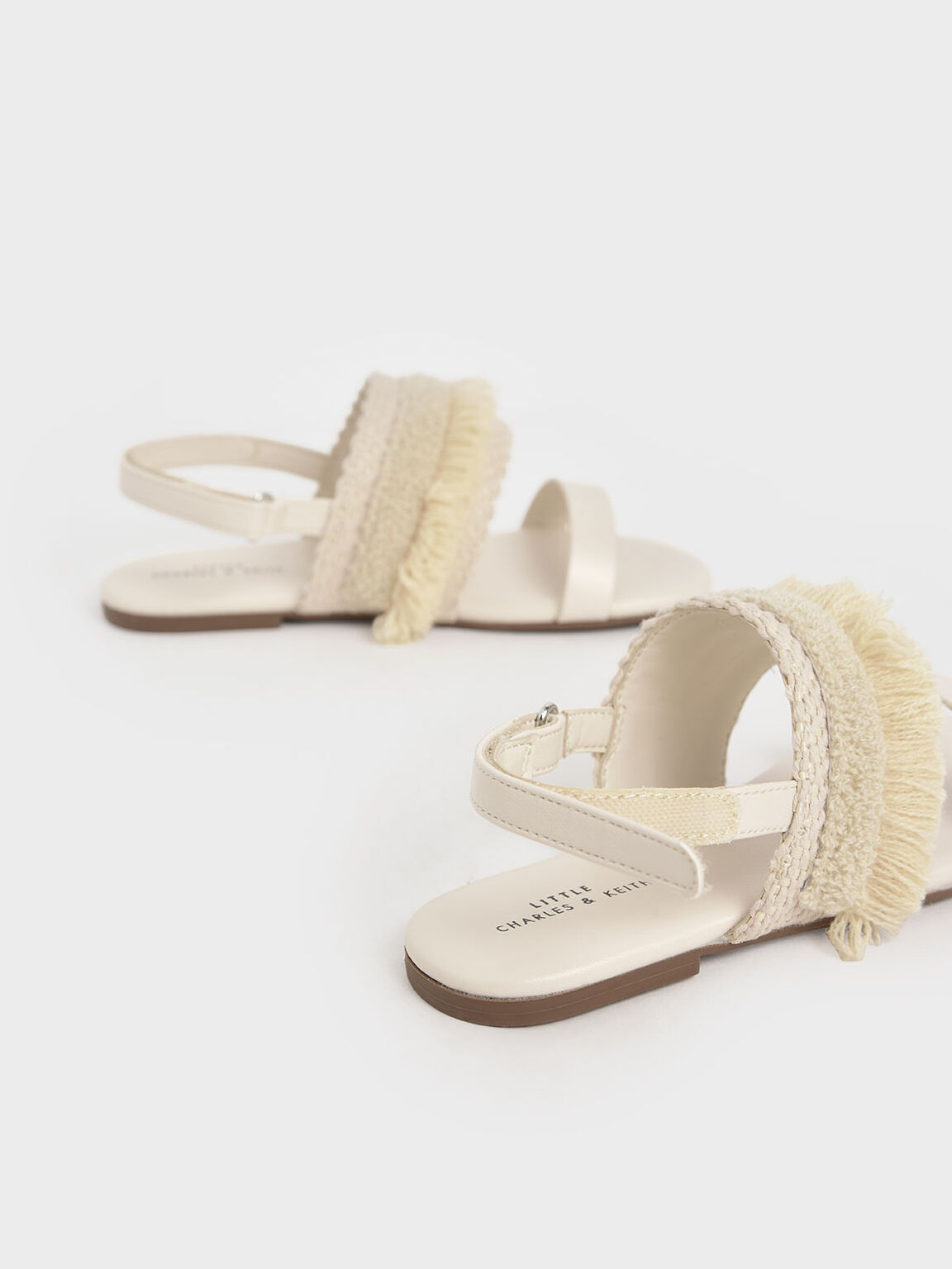 Girls' Woven & Frill Strap Slingback Flats, Beige, hi-res