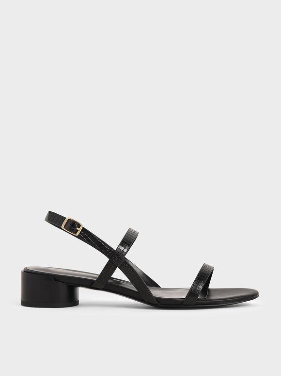鱷魚紋雙帶涼鞋, 黑色動物紋, hi-res