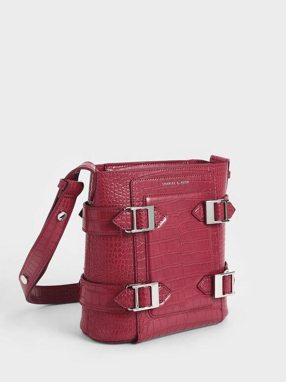 Croc-Effect Buckle Bucket Bag, Berry, hi-res