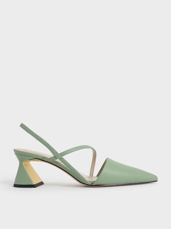 幾何帶三角跟鞋, 綠色, hi-res