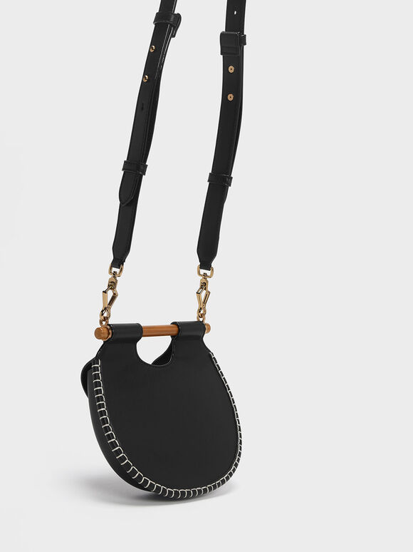 Wood-Effect Handle Whipstitch Trim Bag, Black, hi-res