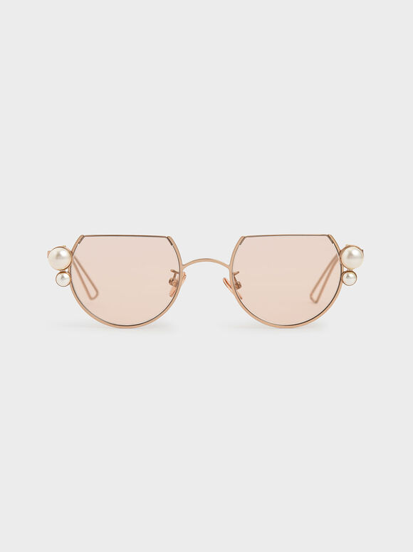 Swarovski� Crystal Pearl Embellished Cut-Off Round Sunglasses, Rose Gold, hi-res