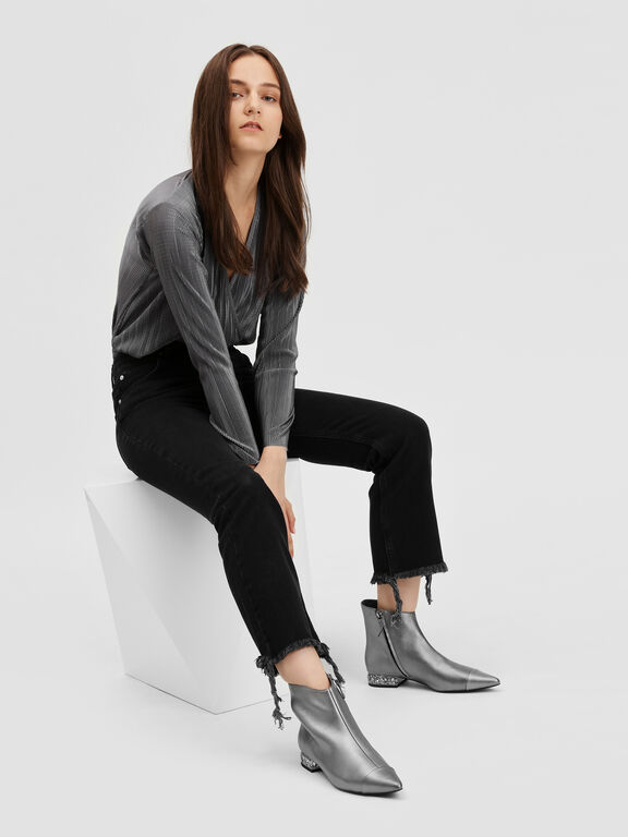 Faceted Lucite Heel Leather Boots, Pewter
