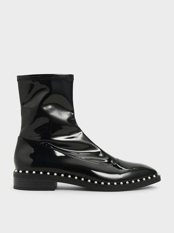 Patent Stud-Trim Ankle Boots, Black, hi-res