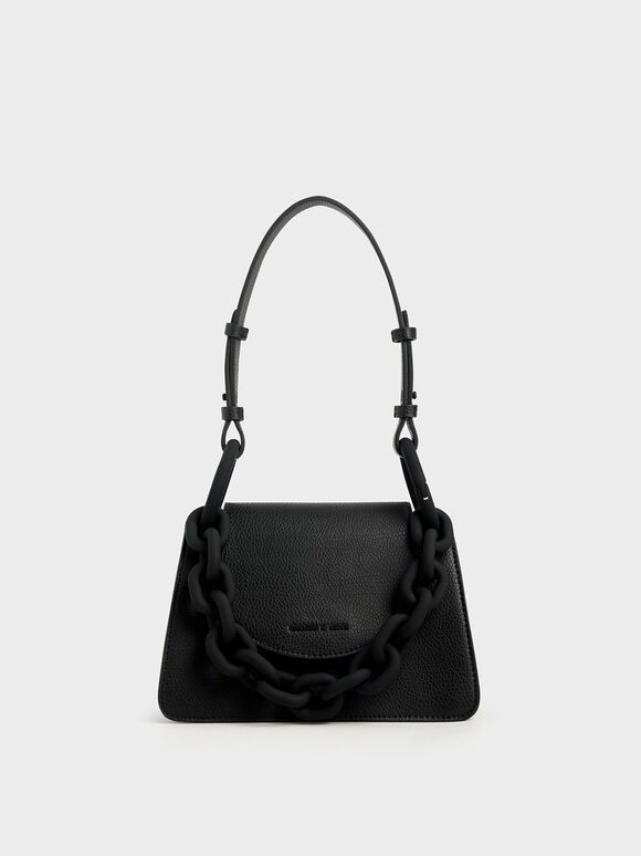 Chunky Chain Link Small Shoulder Bag, Black, hi-res