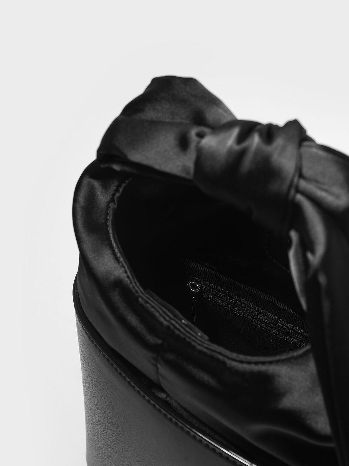 扭結手提水桶包, 黑色, hi-res