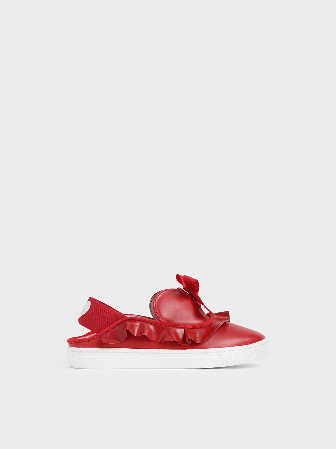 Girls' Frill-Trim Slip-On Sneakers, Red, hi-res