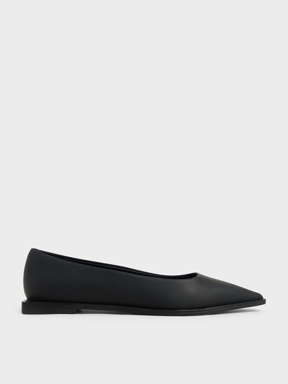Pointed Toe Ballerina Flats, Black, hi-res