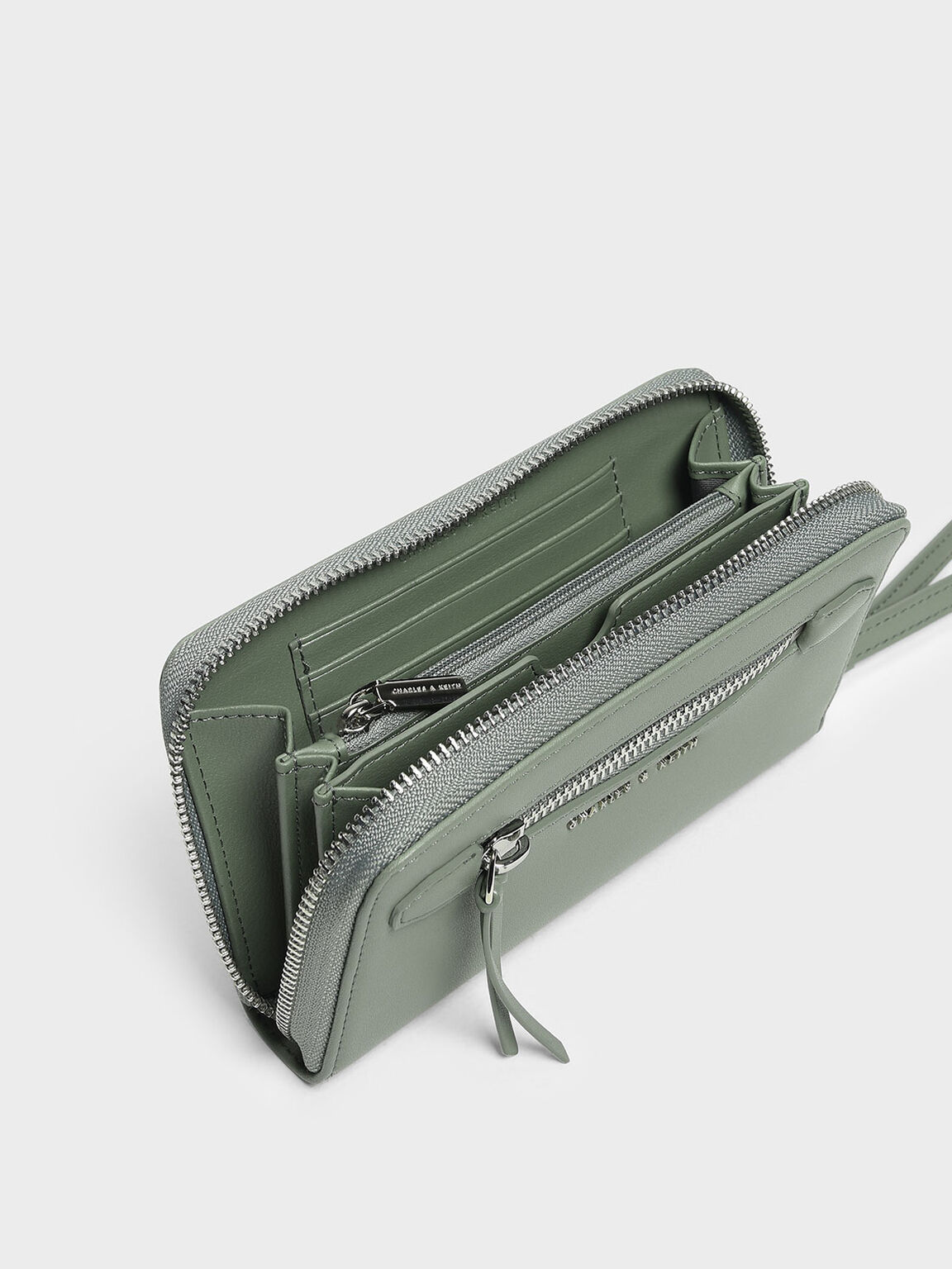 Zipped Wristlet, Sage Green, hi-res