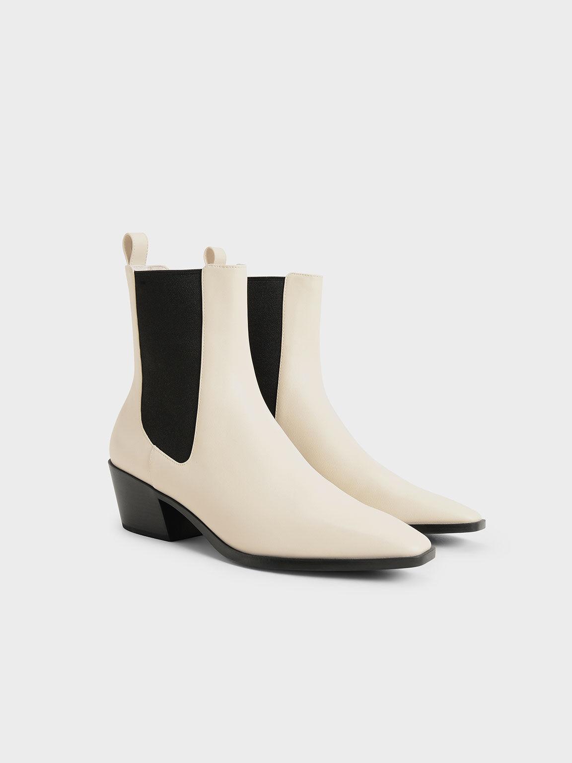 Slanted Heel Chelsea Boots, Chalk, hi-res