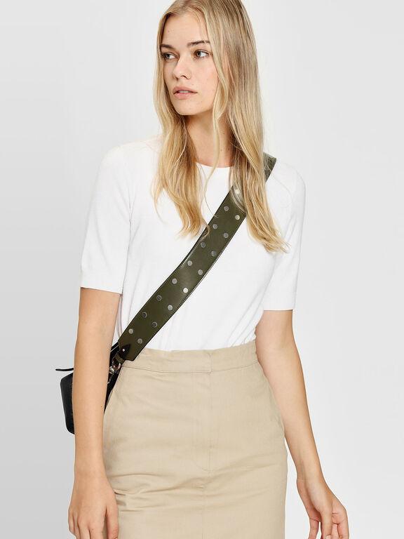 Stud Detail Bag Strap, Olive