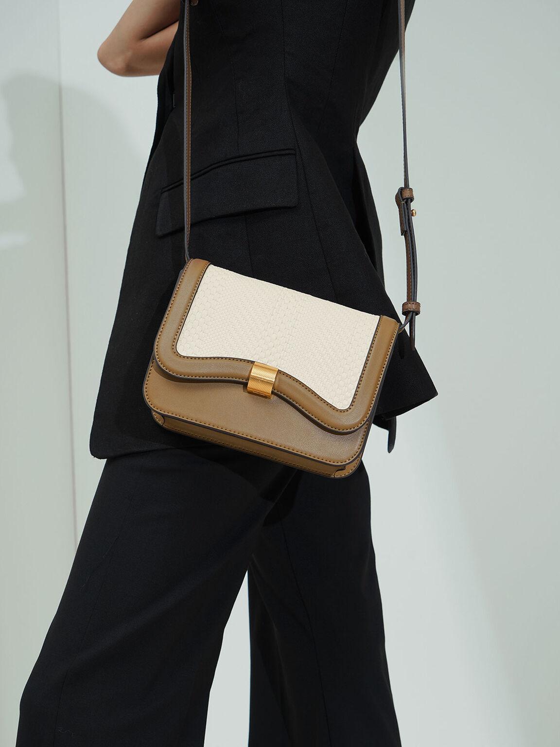 Woven Crossbody Bag, Khaki, hi-res