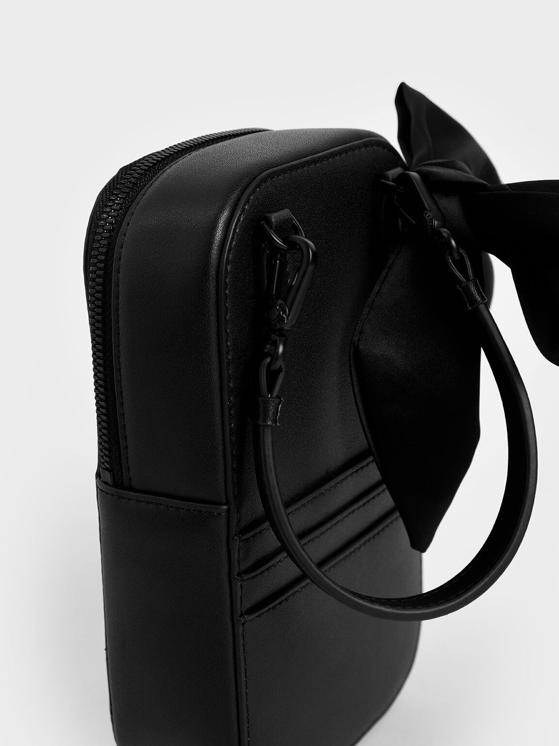 Satin Scarf Structured Pouch, Ultra-Matte Black, hi-res