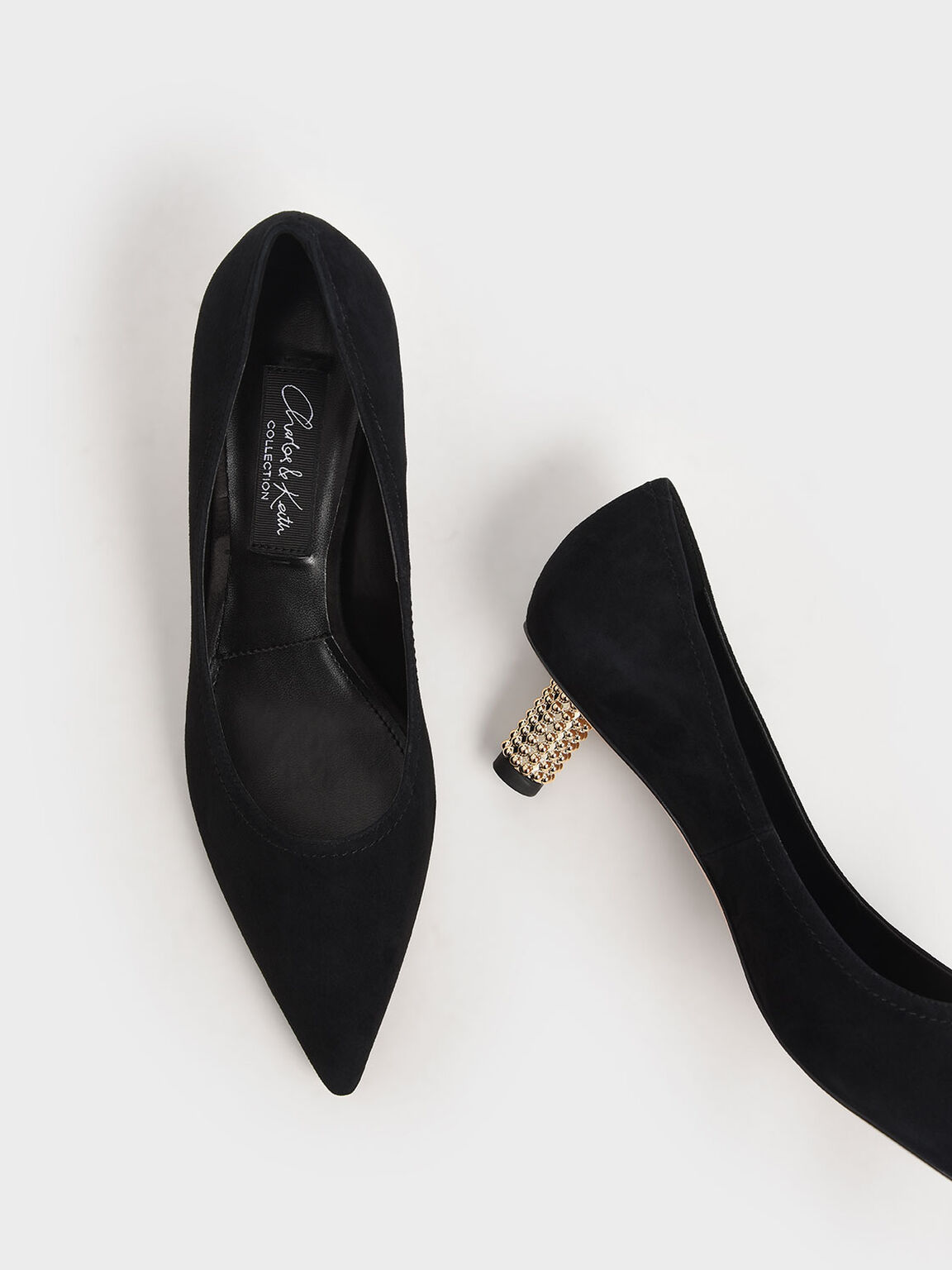 Embellished Kitten Heel Pumps (Kid Suede), Black, hi-res
