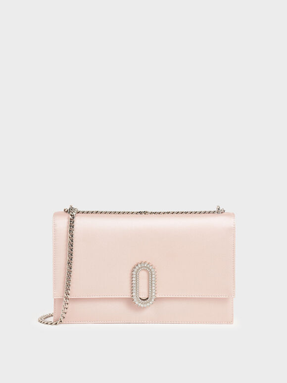 Wedding Collection: Embellished Buckle Satin Crossbody Bag, Pink, hi-res