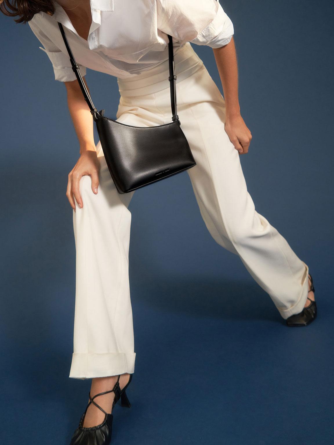 Asymmetrical Shoulder Bag, Black, hi-res