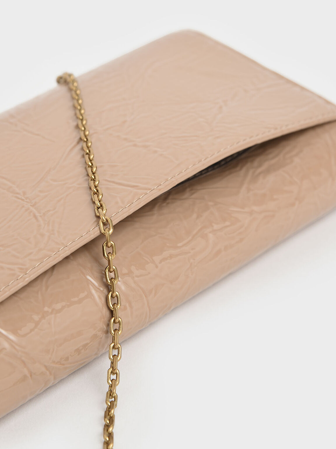 Wrinkled Patent Ring Zip Flap Long Wallet, Beige, hi-res
