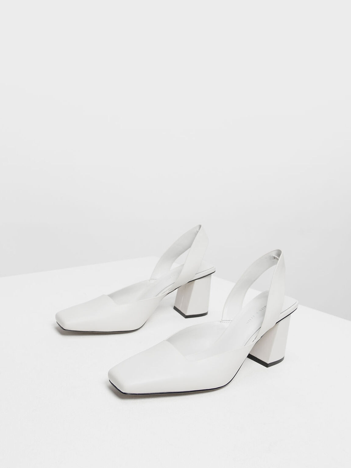 Square Toe Block Heels, White, hi-res