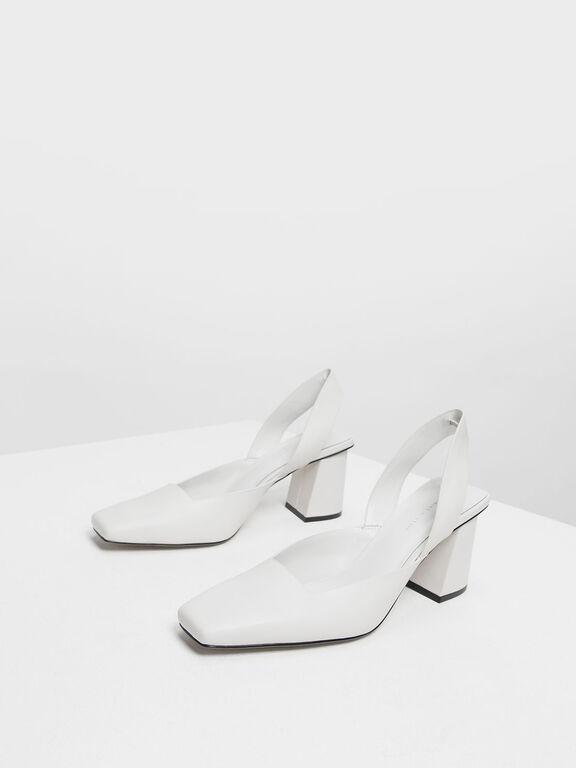 Square Toe Block Heels, White, hi-res