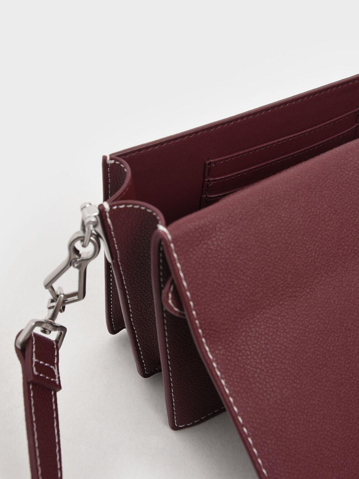 Front Flap Top Handle Bag, Burgundy, hi-res