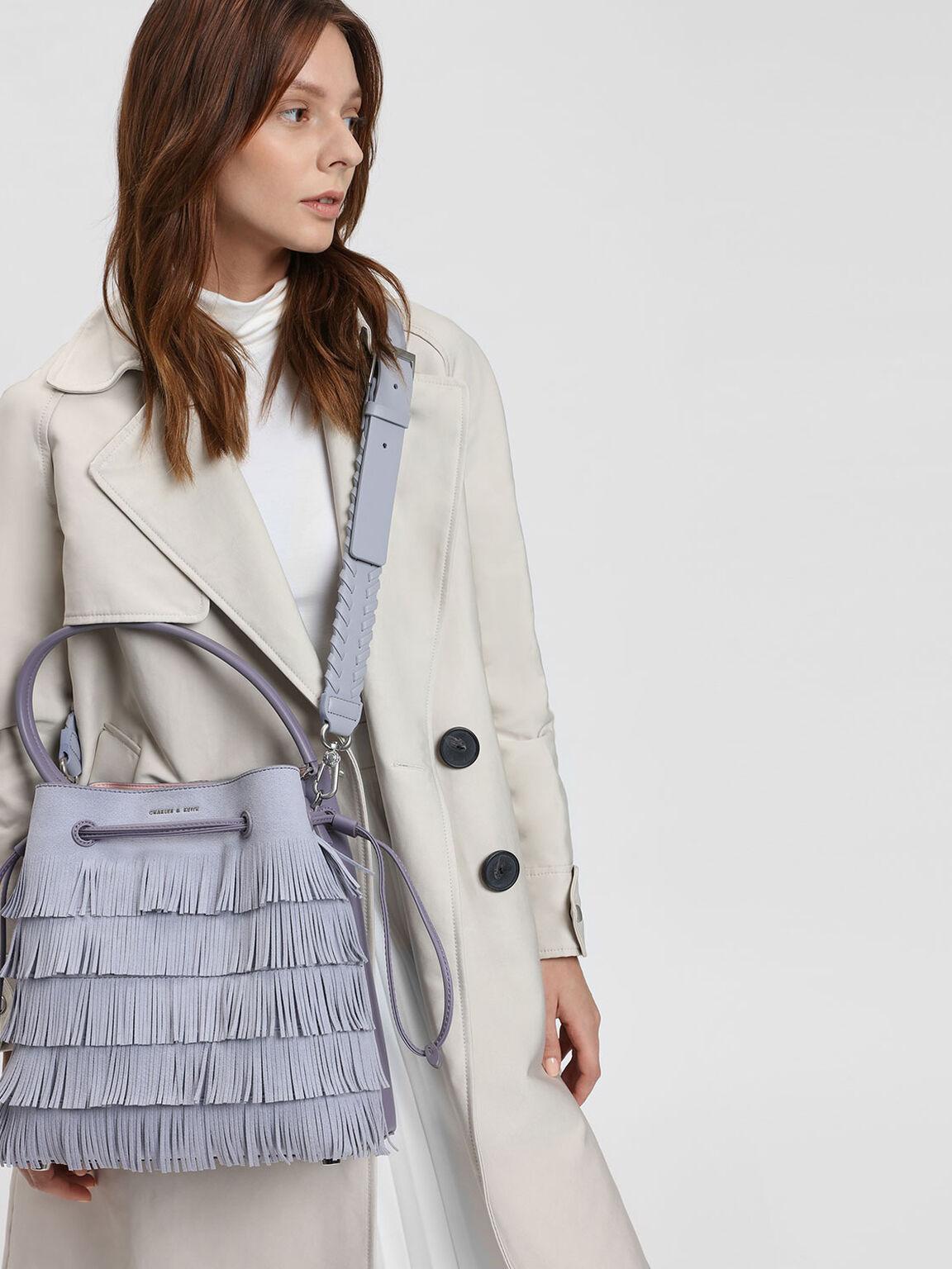 Weave Detail Bag Strap, Lilac Grey, hi-res