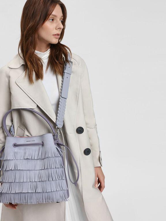 Weave Detail Bag Strap, Lilac Grey