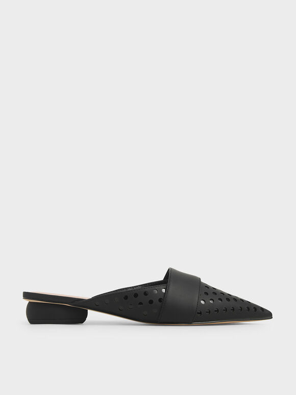 Laser-Cut Pointed Toe Mules, Black, hi-res