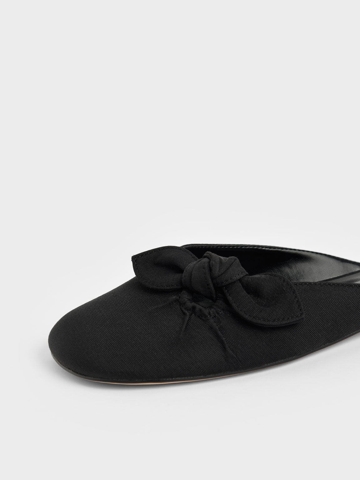 Knotted Fabric Mules, Black, hi-res