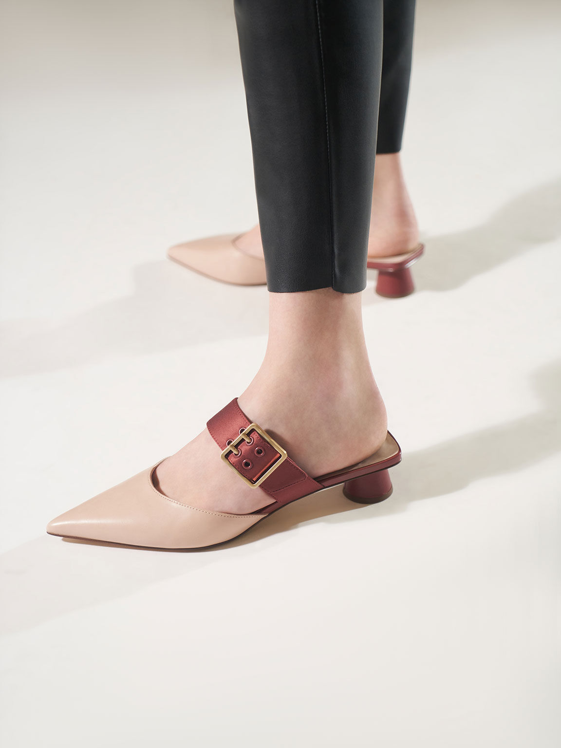 Satin Grommet Buckle Mules, Brick, hi-res