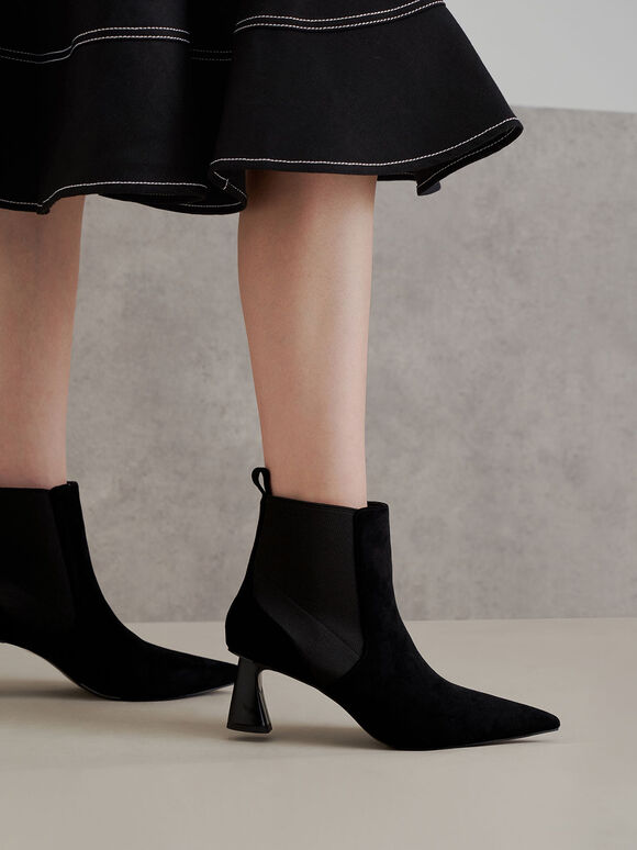 Textured Spool Heel Ankle Boots, Black, hi-res