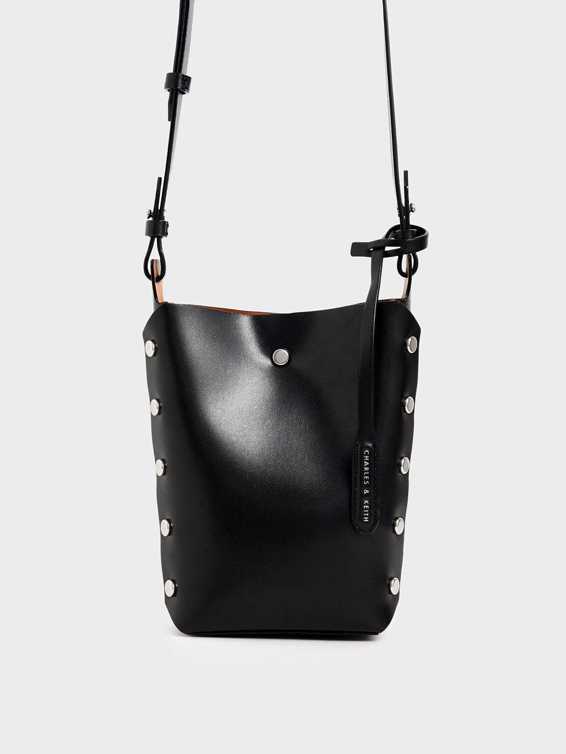 Mini Reversible Studded Crossbody Bag, Black, hi-res