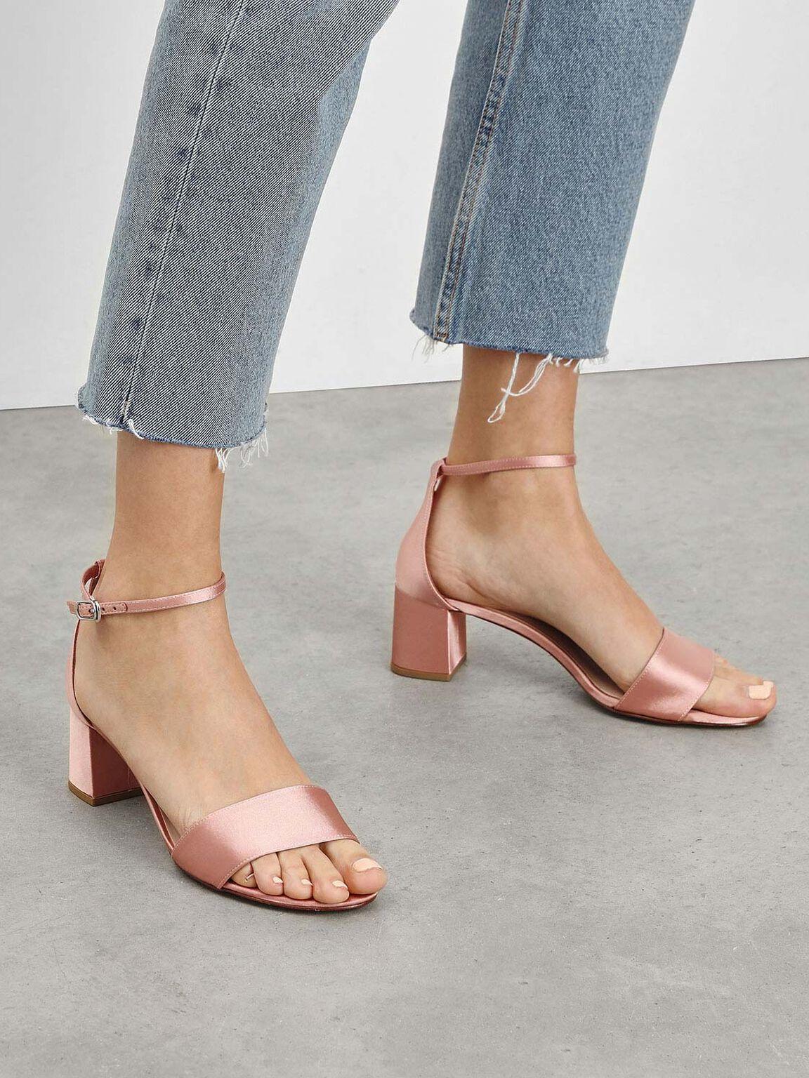 Satin Block Heel Sandals, Nude, hi-res