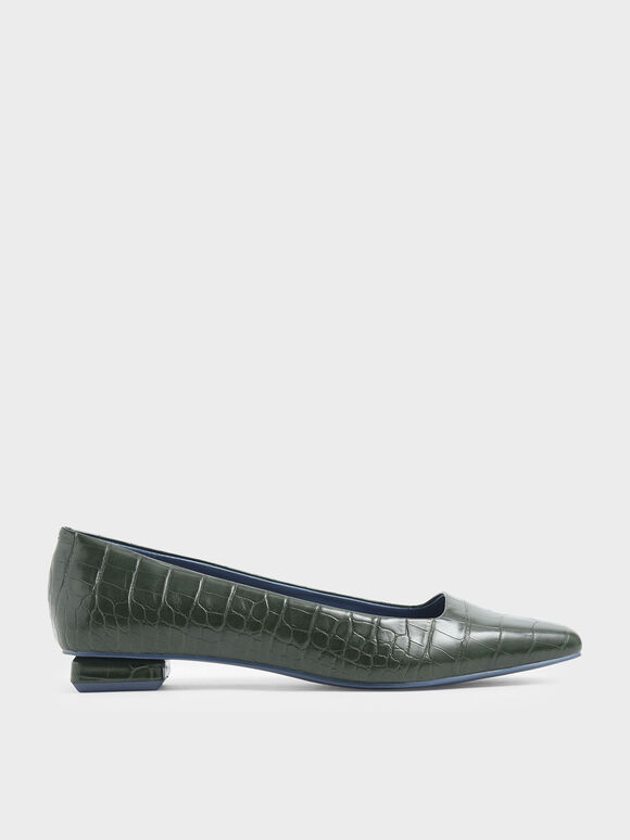 Croc-Effect Square Toe Ballerina Flats, Green, hi-res
