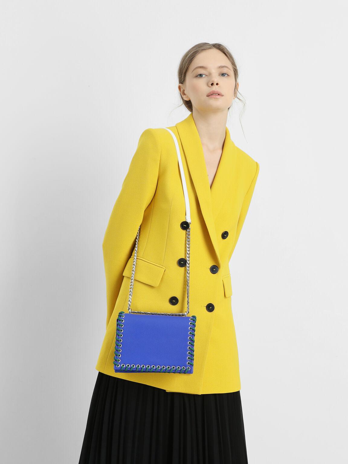 Grommet Accented Crossbody Bag, Blue, hi-res