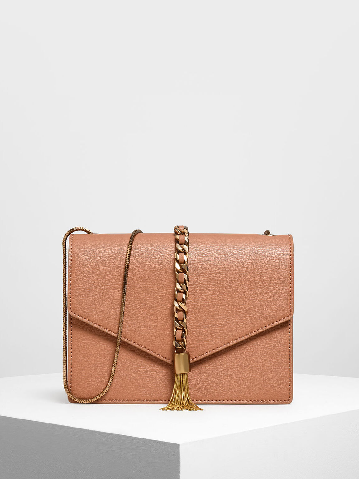 Tassel Shoulder Bag, Clay, hi-res