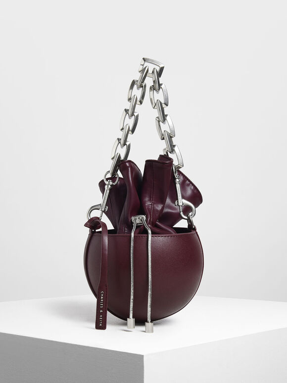 Chunky Chain Strap Spherical Bucket Bag, Prune, hi-res