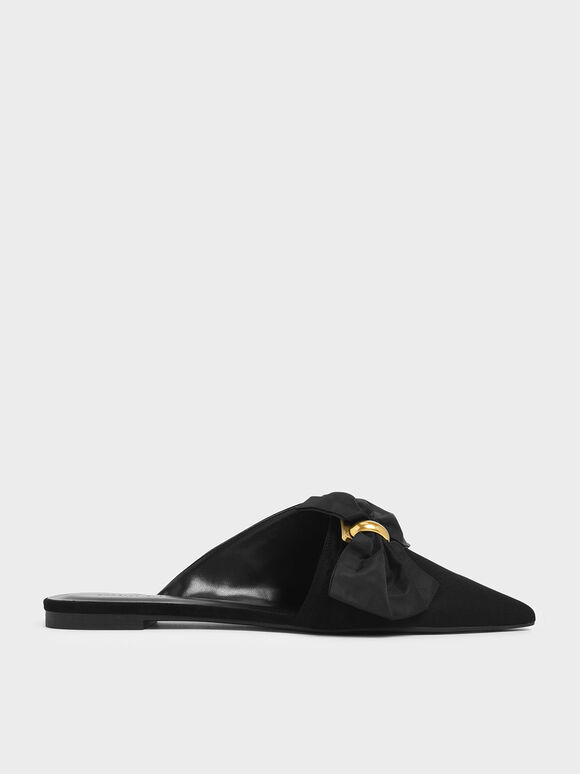 Oversized Bow Asymmetric-Cut Textured Mules, Black, hi-res