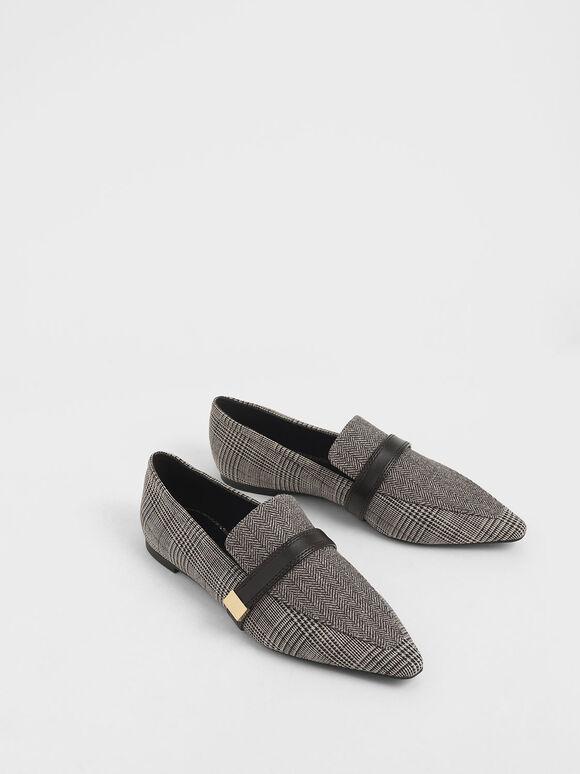 Metal Accent Tweed Loafers, Multi, hi-res