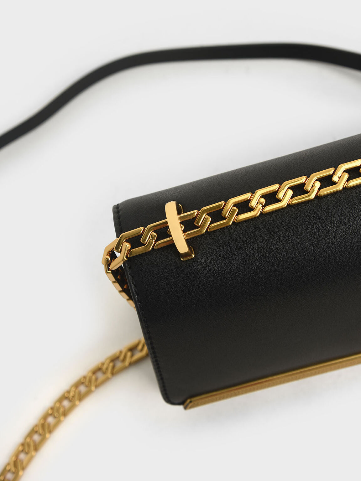 Metallic Accent Evening Clutch, Black, hi-res