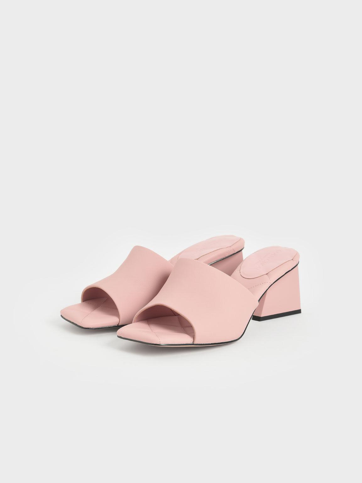真皮方頭穆勒拖鞋, 粉紅色, hi-res