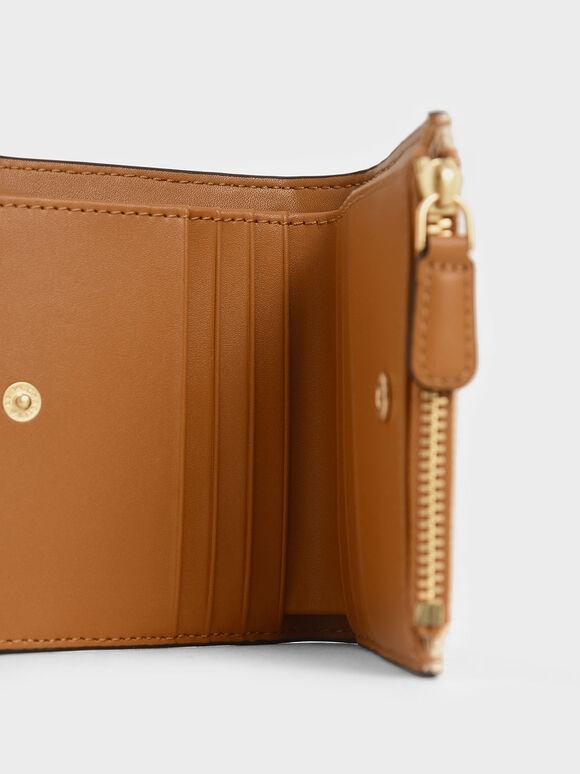 Two-Tone Top Zip Mini Wallet, Cognac, hi-res