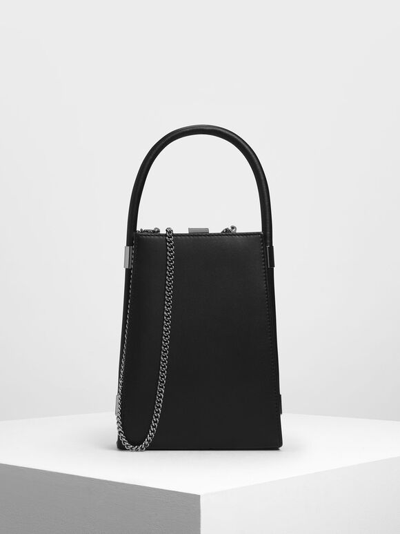 Leather Angular Bag, Black, hi-res