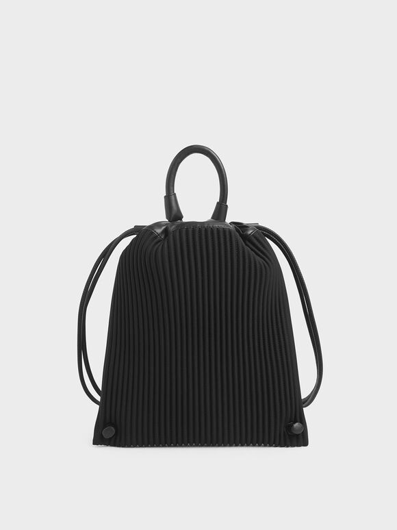 Neoprene Drawstring Backpack, Black, hi-res