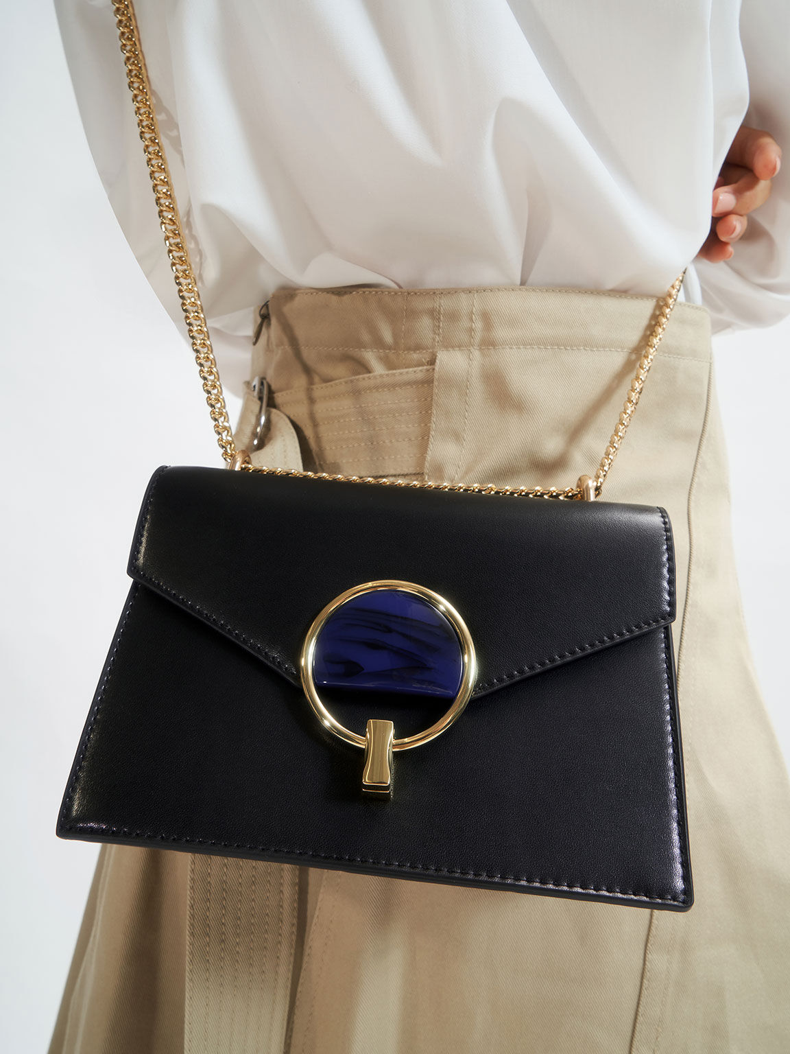 Stone-Embellished Shoulder Bag, Black, hi-res
